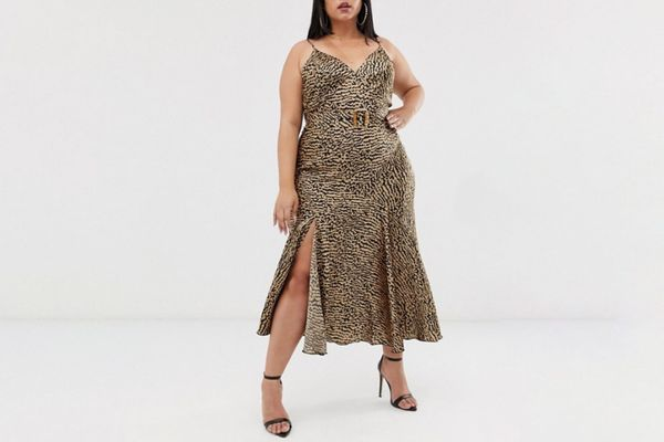 ASOS Curve Bias Cut Maxi Slip Dress in Leopard Print with Bamboo Belt