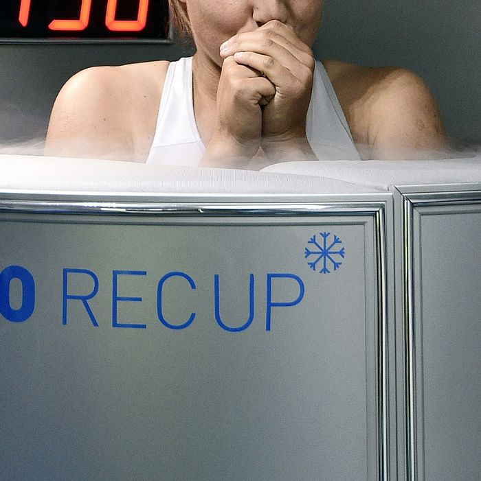 A cryotherapy chamber.