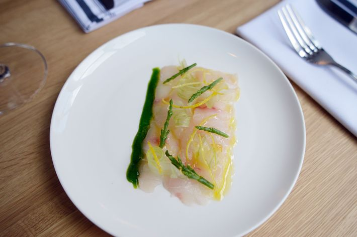 Striped bass crudo with sea beans and spring onion.