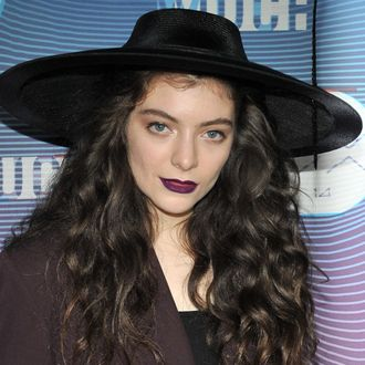TORONTO, ON - JUNE 15: Singer-songwriter Lorde poses in the press room at the 2014 MuchMusic Video Awards at MuchMusic HQ on June 15, 2014 in Toronto, Canada. (Photo by Sonia Recchia/Getty Images)