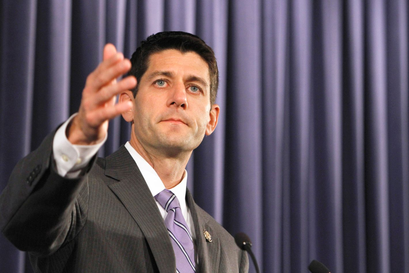 House Budget Committee Chairman Rep. Paul Ryan, R-Wis., speaks at the Heritage Foundation in Washington, Wednesday, Oct. 26, 2011. (AP Photo/Jacquelyn Martin)