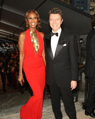 Iman and David Bowie at the CFDA Awards in 2007.