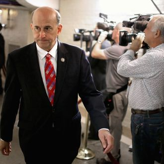 Rep. Louie Gohmert (R-TX) heads for a House Republican caucus meeting at the U.S. Capitol October 4, 2013 in Washington, DC.
