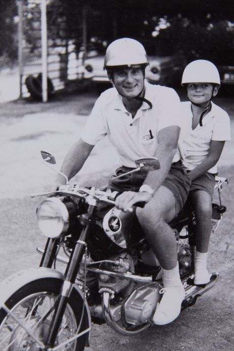 On the motorcycle with Dad, Hong Kong, 1967 (or thereabouts).