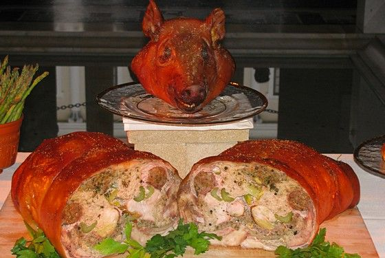 The piece de resistance, this whole pig was stuffed with chicken, pork, pheasant, duck, lucanica sausage, cabbage, leeks, dates, celery, eggs, pine nuts, and breadcrumbs, spiced with cumin, oregano, thyme, parsley, pepper, and fish sauce.<br>