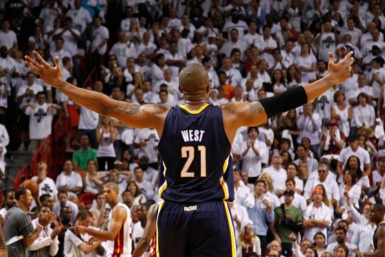 MIAMI, FL - MAY 15: David West #21 of the Indiana Pacers reacts to winning Game Two of the Eastern Conference Semifinals in the 2012 NBA Playoffs against the Miami Heat at AmericanAirlines Arena on May 15, 2012 in Miami, Florida. NOTE TO USER: User expressly acknowledges and agrees that, by downloading and/or using this Photograph, User is consenting to the terms and conditions of the Getty Images License Agreement.  (Photo by Mike Ehrmann/Getty Images)