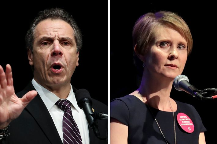 Image result for images of andrew cuomo and cynthia nixon