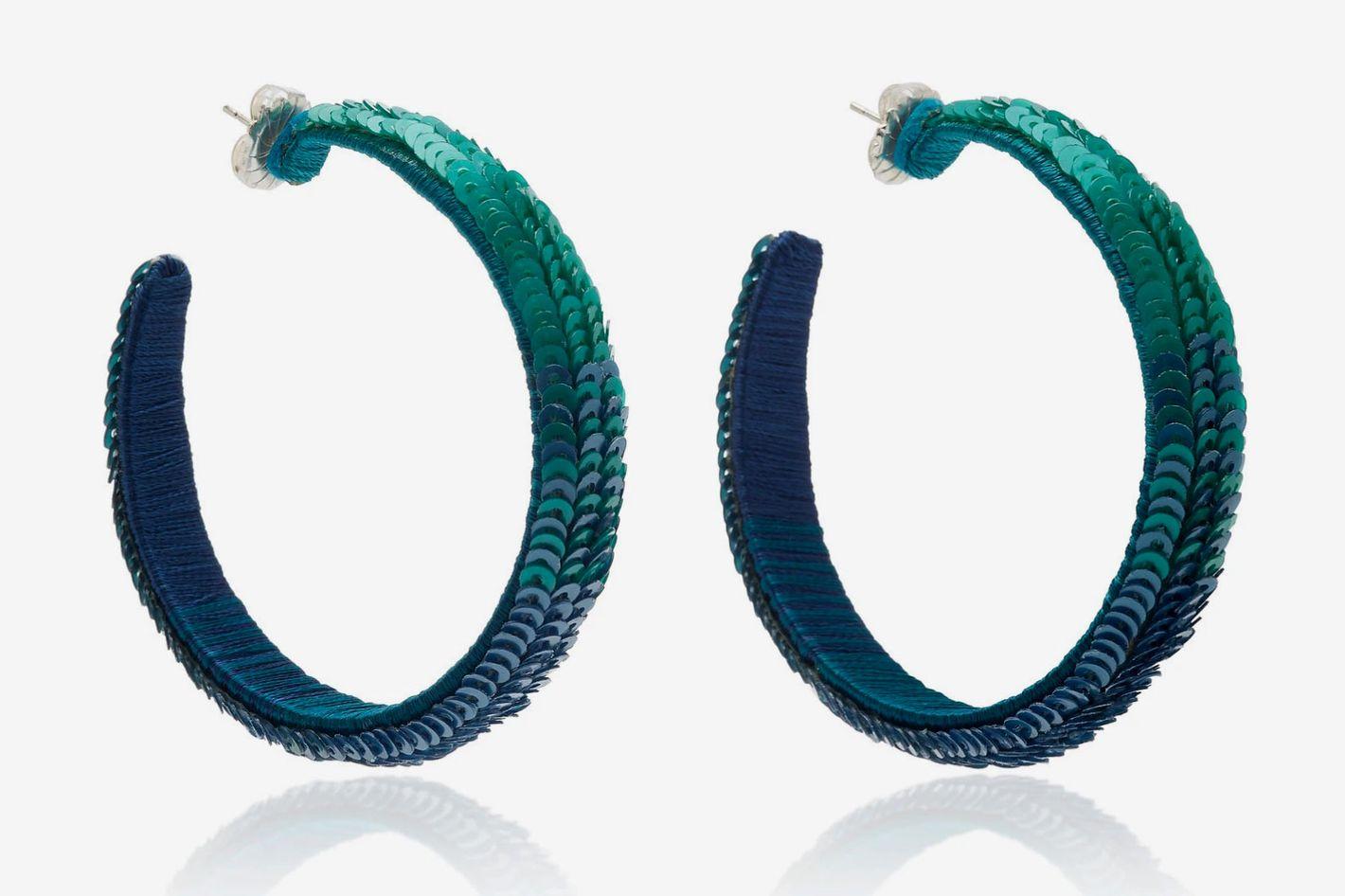 Suzanna Dai L Jinshanling Sequined Hoop Earrings
