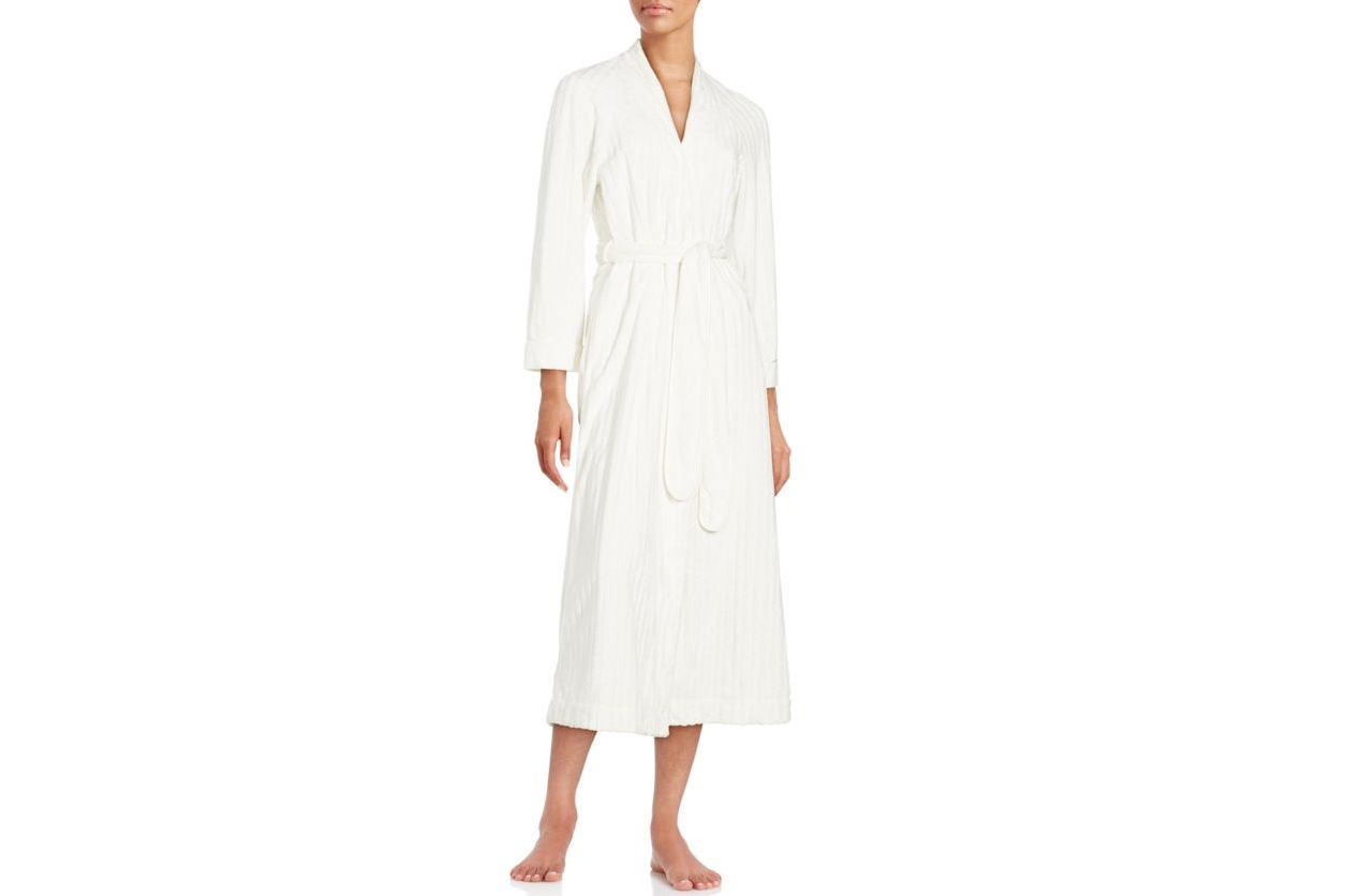 Oscar de la Renta Open Front Long Sleeve Bath Robe