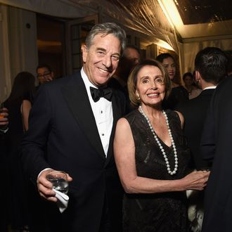 WASHINGTON, DC - APRIL 25: Paul Pelosi (L) and Nancy Pelosi attend the Bloomberg & Vanity Fair cocktail reception following the 2015 WHCA Dinner at the residence of the French Ambassador on April 25, 2015 in Washington, DC. (Photo by Dimitrios Kambouris/VF15/WireImage) *** Local Caption *** Paul Pelosi;Nancy Pelosi