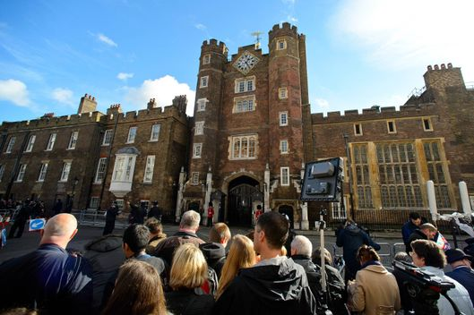 Crowds gather ahead of the christening of HRH Prince George Of Cambridge at St James's Palace on October 23, 2013 in London, England.