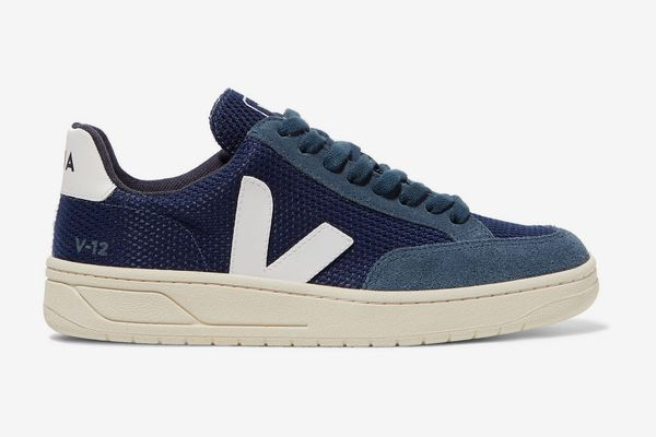 Veja + Net Sustain V-12 Leather-Trimmed Mesh and Suede Sneakers