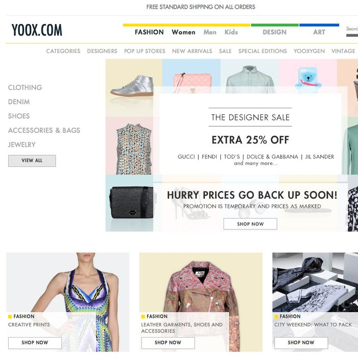 The Yoox homepage.