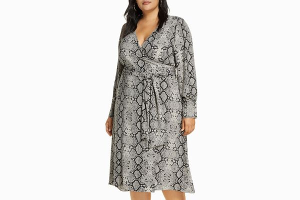 Halogen Long Sleeve Midi Wrap Dress