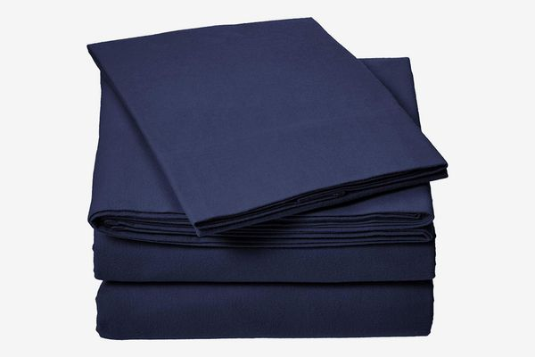AmazonBasics Everyday Flannel Bed Sheet Set - Twin XL, Navy Blue