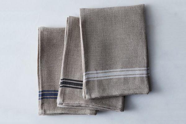 Kiss That Frog Oatmeal Linen Striped Tea Towels (Set of 4)