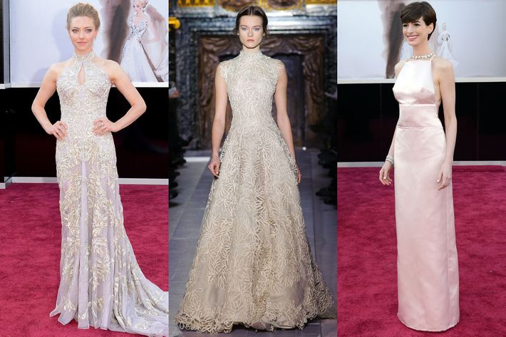 Seyfried, the Valentino dress, and Hathaway.