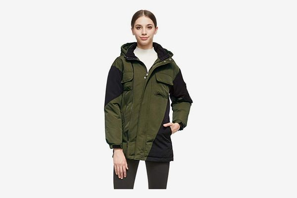 Orolay Women Warm Down Mid-Length Jacket with Hood Color Blocking Style Coat