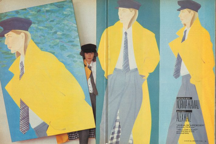 An Alex Katz painting in a Wintour shoot from 1983.