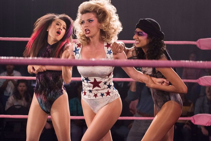 Ellen Wong, Betty Gilpin, and Sunita Mani in GLOW.