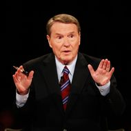 OXFORD, MS - SEPTEMBER 26:  Debate moderator Jim Lehrer speaks during the first of three presidential debates before the 2008 election September 26, 2008 in the Gertrude Castellow Ford Center at the University of Mississippi in Oxford, Mississippi. Both candidates arrived in Oxford after taking part in negotiations the previous day in Washington, D.C. to solve the current financial crisis.  (Photo by Chip Somodevilla/Getty Images)