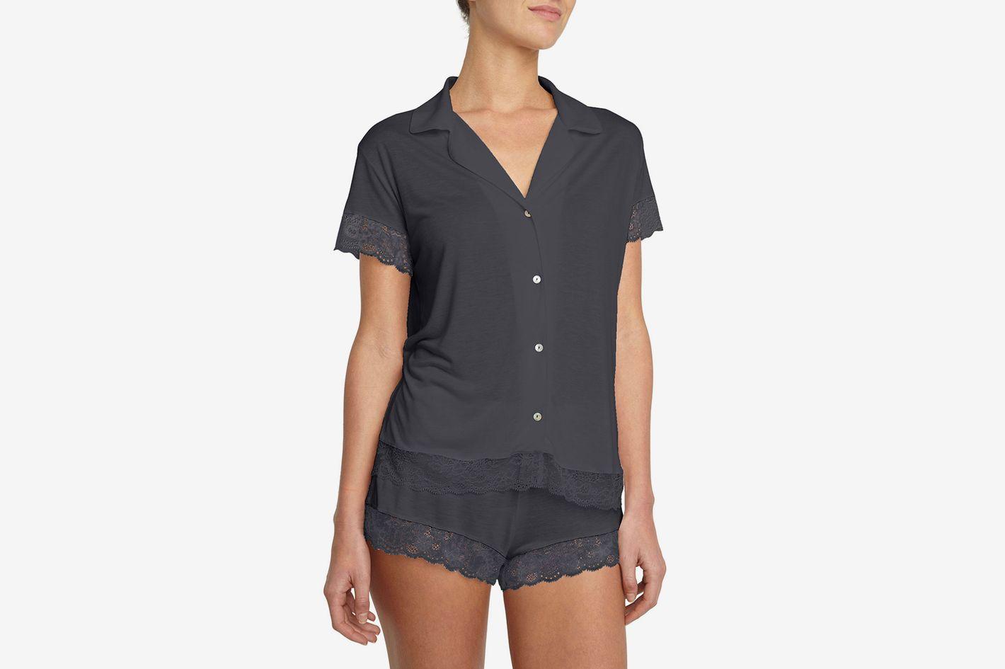 Eberjey Noor Lace-Trim Short Pajama Set