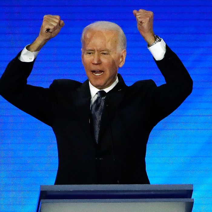 Democratic presidential candidate former Vice President Joe Biden makes a point during a Democratic presidential primary debate, Friday, Feb. 7, 2020, hosted by ABC News, Apple News, and WMUR-TV at Saint Anselm College in Manchester, N.H. (AP Photo/Elise Amendola)