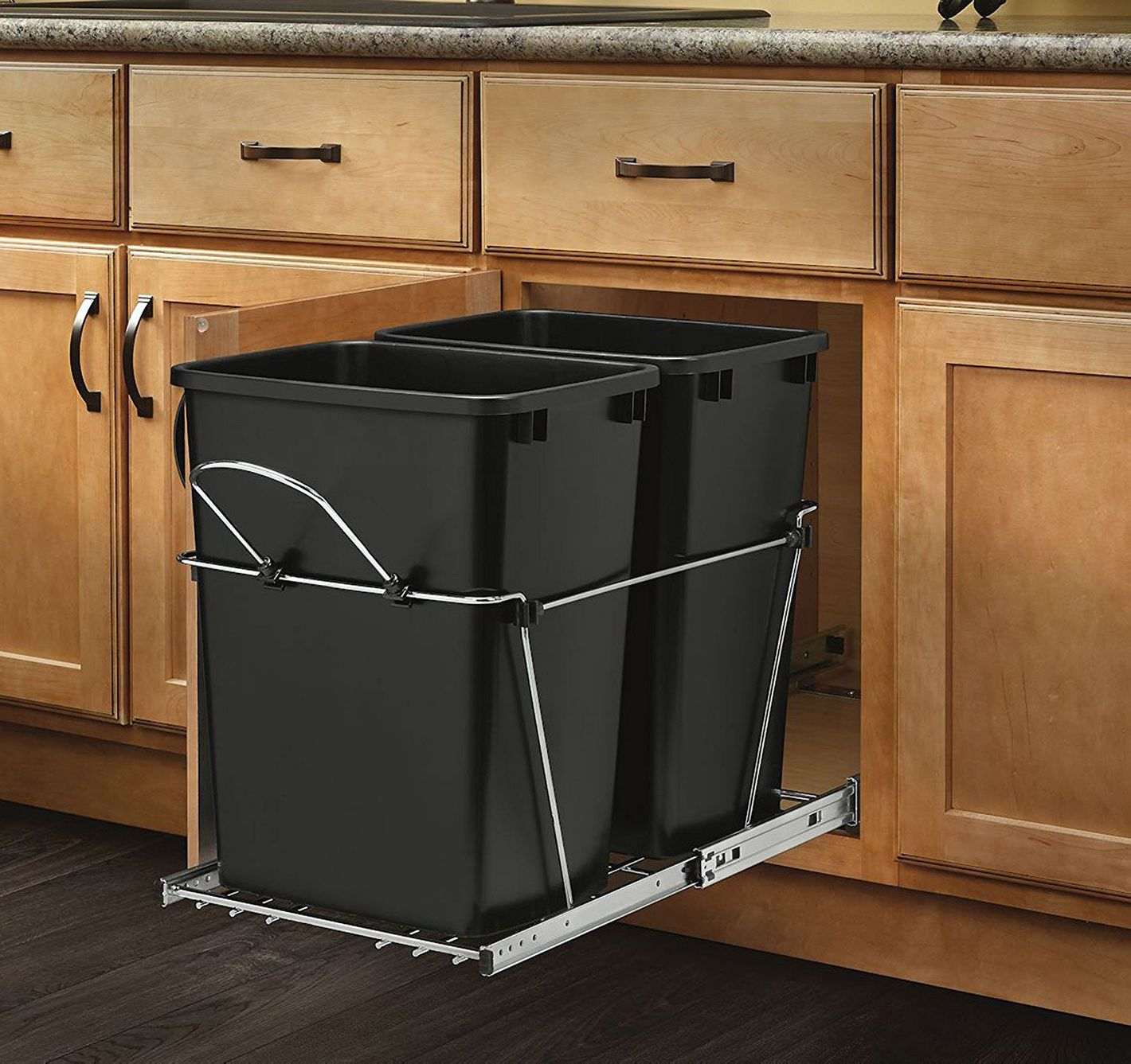 Rev-A-Shelf — RV-18KD-18C S — Double 35-Quart Pull-Out Black and Chrome Waste Container