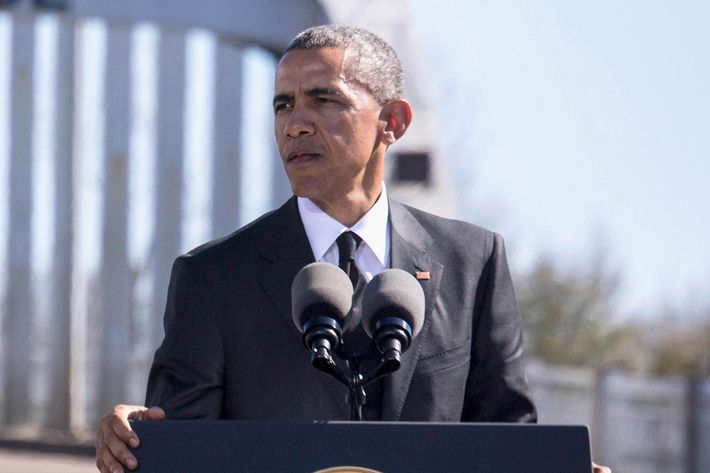 U.S. President Barack Obama speaks onstage at 50th Anniversary Of Selma March For African American Voting Rights on March 7, 2015 in Selma, Alabama.