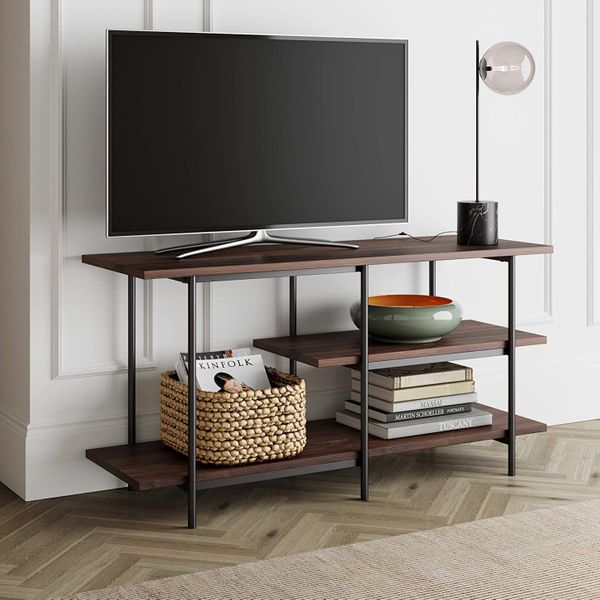 Nathan James Adler 3-Tier Modern TV Stand or Media Console Entertainment Center with Storage Shelves, Warm Walnut