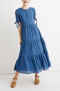 Madewell Tie-Sleeve Tiered Midi Dress in Calico Floral