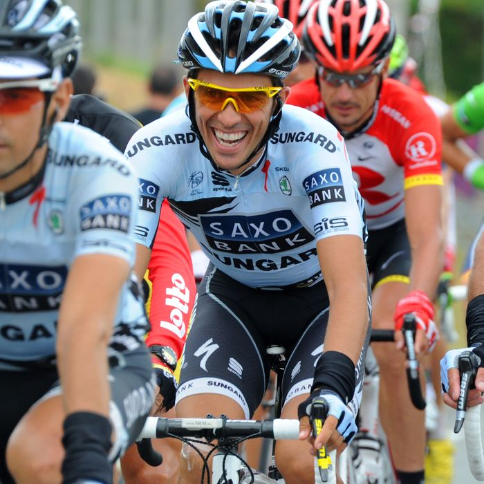 Spain's three-time Tour de France winner Alberto Contador (C) rides with Saxo Bank teammates in the 189 km and eighth stage of the 2011 Tour de France cycling race run between Aigurande and Super-Besse Sancy, center France, on July 9, 2011. AFP PHOTO / PASCAL PAVANI (Photo credit should read PASCAL PAVANI/AFP/Getty Images)