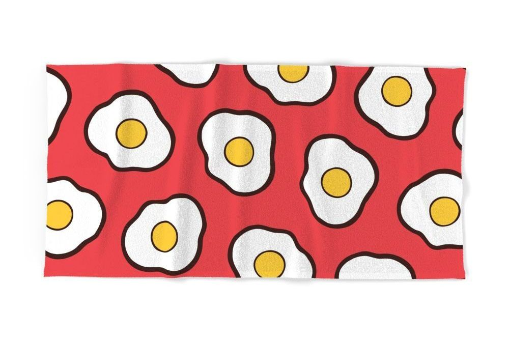Society6 Fried Eggs Pattern Bath Towel