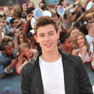 TORONTO, ON - JUNE 15: Shawn Mendes arrives at the 2014 MuchMusic Video Awards at MuchMusic HQ on June 15, 2014 in Toronto, Canada. (Photo by Sonia Recchia/Getty Images)