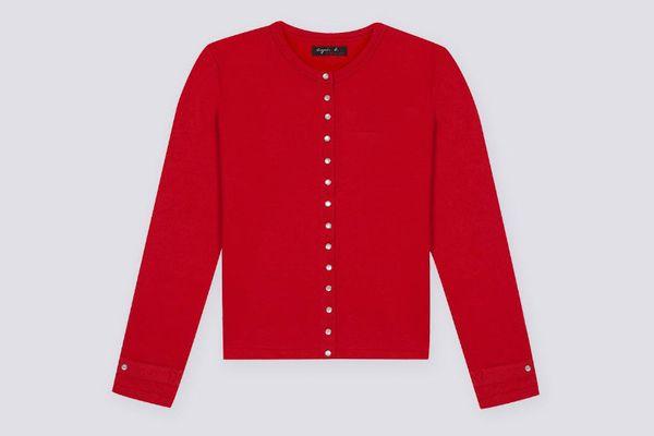 Agnès B. Women's Red Cardigan