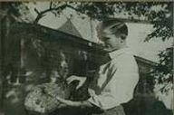 Man with a ham, circa 1949.