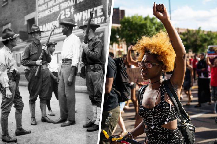 Racial justice protests in 1919 and 2016.