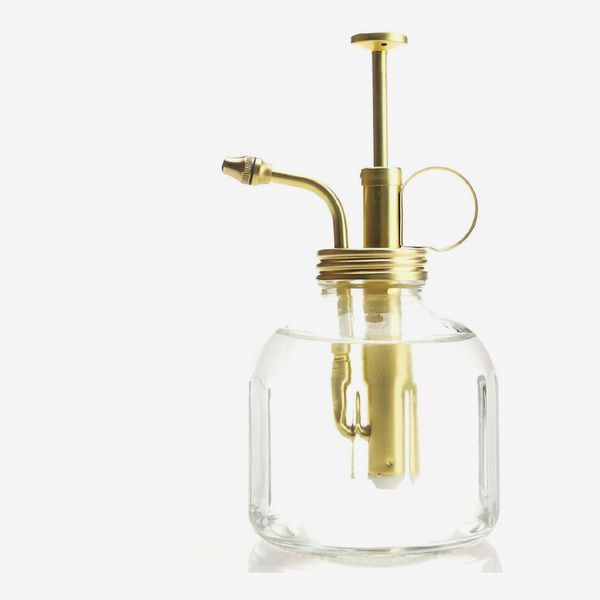 Purism Style Plant Mister- Clear Color Glass Bottle & Brass Sprayer