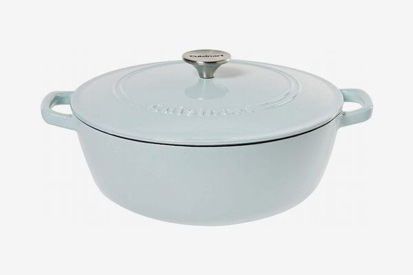 Cuisinart Round Cast Iron Casserole, Light Blue, 5.5 Quart