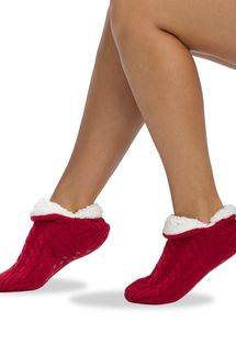 HUE Womens Cable Shearling Slippers
