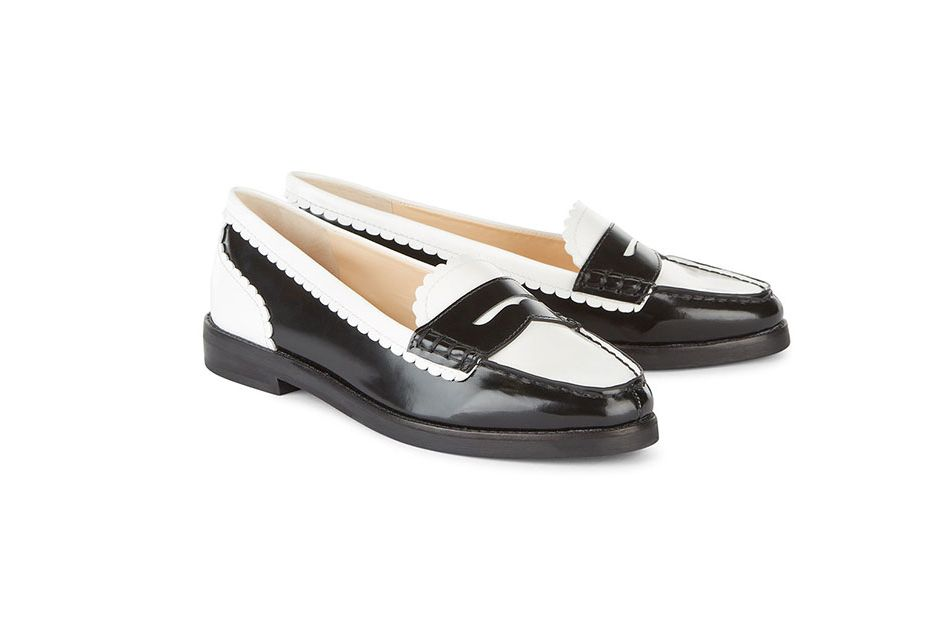 Isa Tapia Black and White Leather Loafers