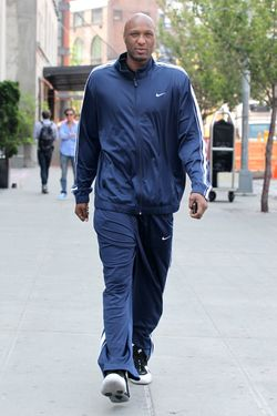 NEW YORK CITY, NY - APRIL 21:  Lamar Odom walks to lunch in the Meatpacking District on April 21, 2012 in New York City, New York.  (Photo by Christopher Peterson/BuzzFoto/FilmMagic)