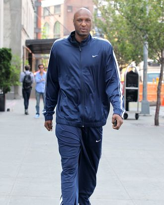 Lamar Odom walks to lunch in the Meatpacking District on April 21, 2012 in New York City, New York.