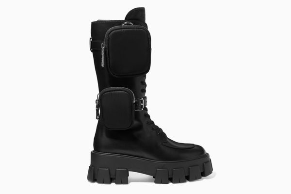 Prada Buckled Leather and Shell Platform Boots