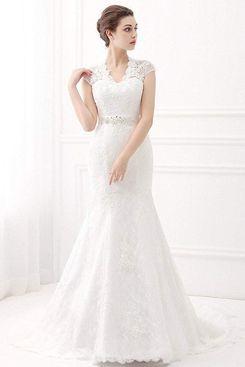 Ubridal Embroidery Lace Mermaid Court Wedding Dress