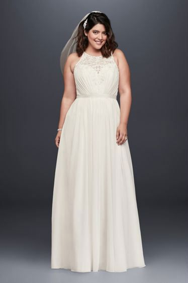 David's Bridal Collection Beaded Chiffon Halter Plus Size Wedding Dress