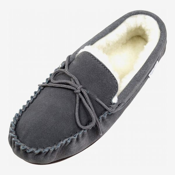 Snugrugs Mens Suede Lambswool Moccasin Slippers