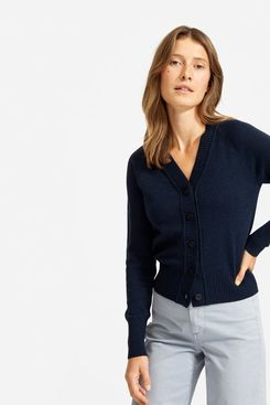 Everlane ReCashmere Varsity Cardigan, Heathered Ink