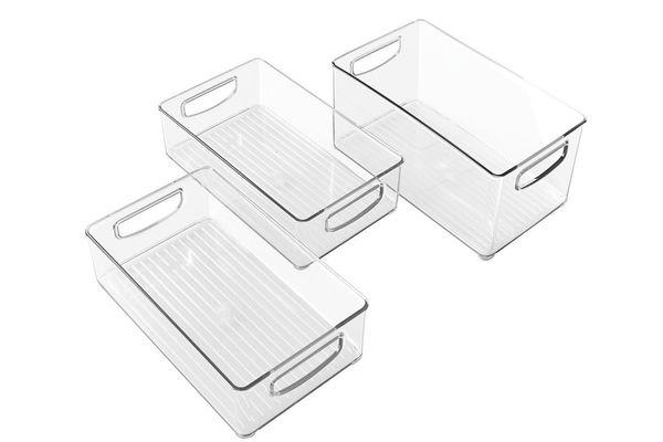 InterDesign Organizer Bins With Handles — Set of 3, Clear