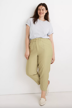 Madewell Tapered Huston Pull-On Crop Pants in 'Faded Seagrass'